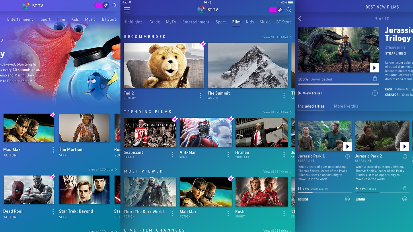 BT TV app Next-gen UX design for TV, tablet and smartphone