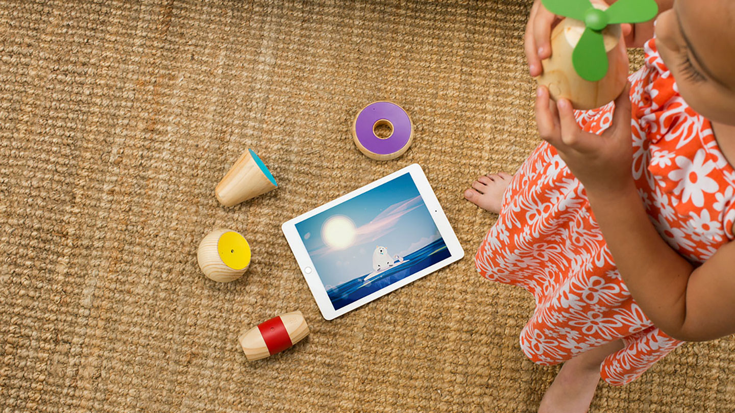 The Yibu gaming ecosystem of five wooden toys with multi-touch sensing, and tablet apps