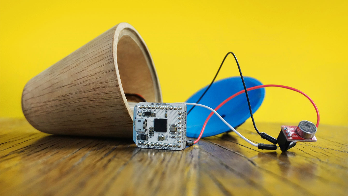 Electronic sensors inside the wooden toy