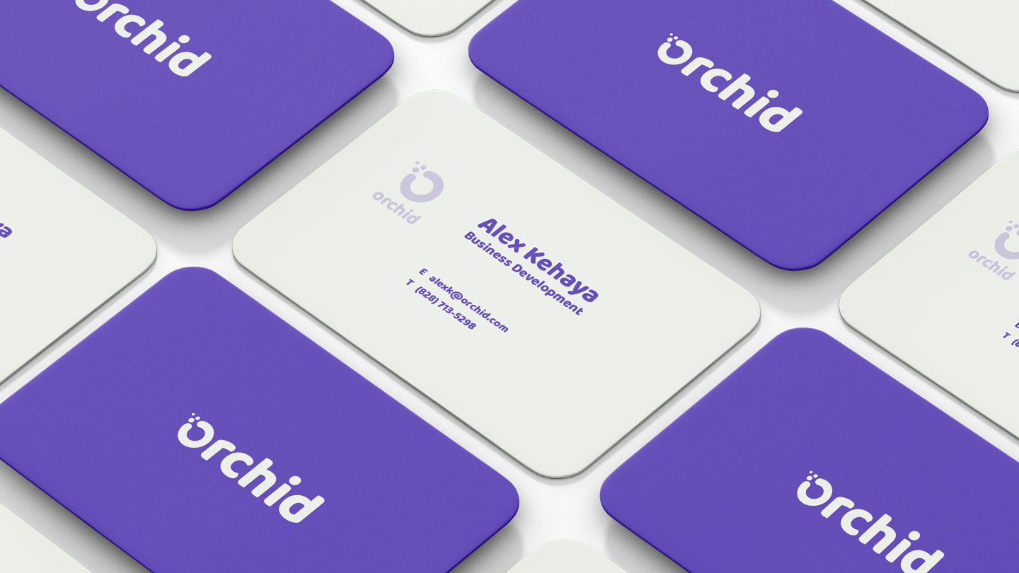 Defining brand identity for Orchid - business card mockup