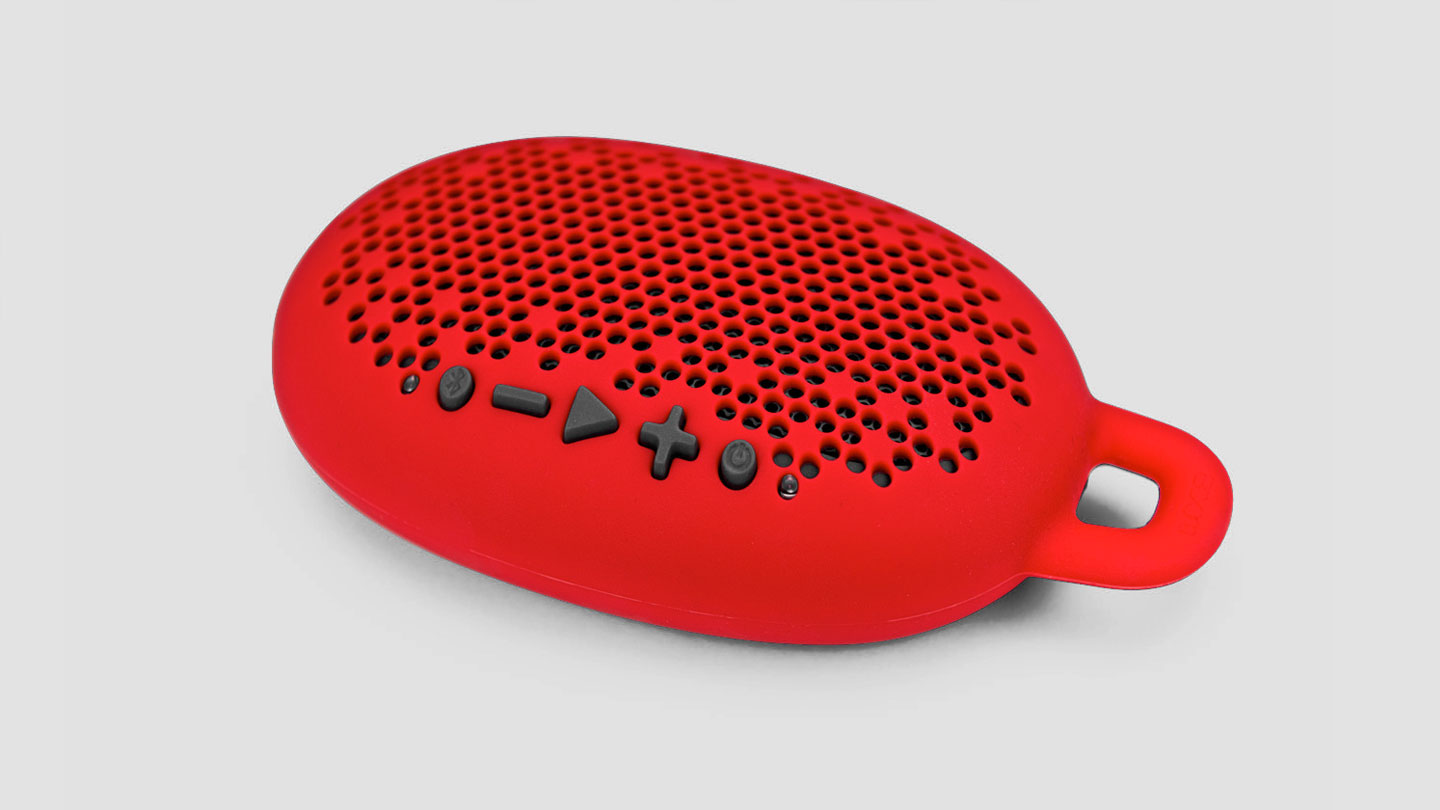 Boom Urchin, portable bluetooth speaker with dust-proof and shock-resistant design, in red